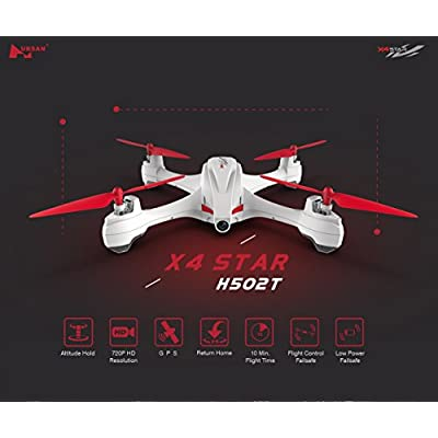 Hubsan X4 H502E Desire GPS Quadcopter RC Drone w/ 720P HP Camera, 4 Channel Transmitter, 6 Axis Quadcopter, Altitude Holding, Auto Return and More