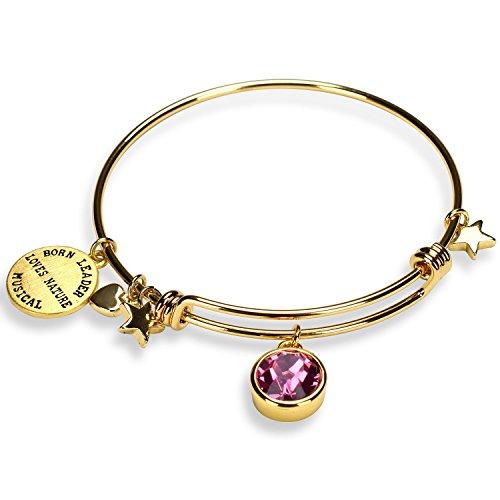 Miraclelove Gold Plated Charm Bracelet Crystal Birthstone Expandable Bangle Bracelet