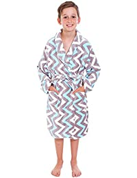 Simplicity Boy's Lightweight Plush Bathrobe Robe w/ Long Sleeve,Muti Wave,L