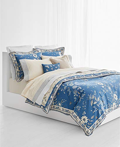 RALPH LAUREN 3 Piece King Size Duvet Cover Set Josephina Cream/Blue 100% Cotton Percale (Ralph Lauren King Quilt)