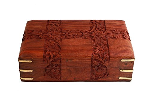 Indian Glance Jewelry Box Organizer Floral Carvings - Storage Case for Girls   Women Birthday Gifts