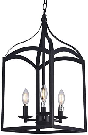 Raekor 11 Vintage Black Metal Iron Frame Square Prism Cage Chain Hanging Chandelier Ceiling Light 3-Bulbs Lantern Lighting Fixture, Matte Black Finish, UL Certificated