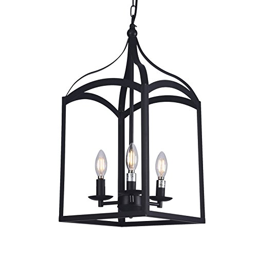 Wideskall 3-Bulbs Industrial Lantern Mini Chandelier Lighting Fixture, 11-inch Shade, Matte Black Finish, UL Certificated