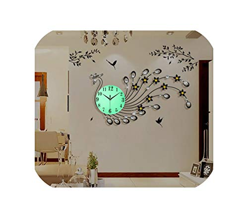 Wenzi-day Wall Clock Metal Wall Decorations Living Room Crackle Glass Clock,S3072