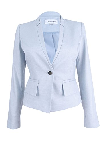 Calvin Klein Women's Petite Size 1 Button Birdseye Jacket, Serene/Multi, 10P ()