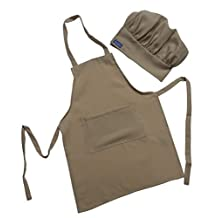 Children Kids Beige Sand Chef Set Apron & Adjustable Hat, Real Fabric High Quality Lightweight (ADULT fits TEENS/Adults) by CHEFSKIN