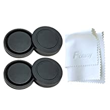 Fotasy RBE2X 2x Rear Lens Cover and Camera Body Cap Set with Cleaning Cloth for Sony E-Mount NEX Mirrorless Camera (Black)