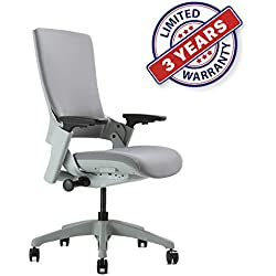 Ergonomic High Swivel Executive Chair with Adjustable Height, 3D Arm Rest, Lumbar Support and Upholstered Back for Home Office (Gray)