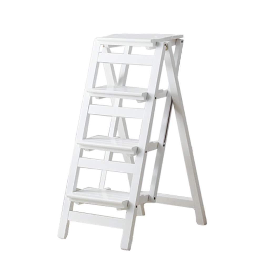 JJJJD 4ステップ木製はしごの椅子ステップスツール多機能の折りたたみ式の棚はしご家庭図書館はしご150kg容量、白 B07QMR3XKL
