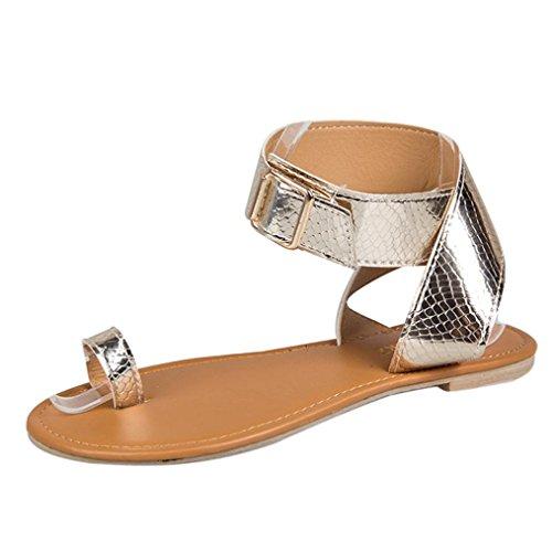 HLHN Women Sandals,Rome Gladiator Buckle Ankle Cross Belt Flat Low Heel Open-Toe Flip Flops Shoes Beach Casual Rose Gold