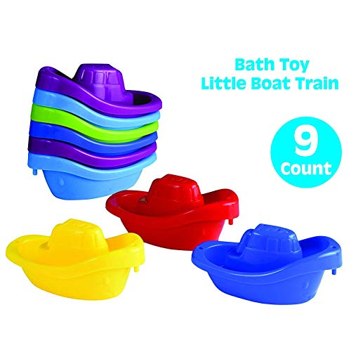 (Playkidz Bath Toy Little Boat Train Pack of 9 Stackable Plastic Kids Tugboats for Bathtub & More in 6 Colors Ages 3 and Up)