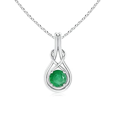 Angara Womens Solitaire Emerald Infinity Knot Pendant in Platinum xEBUpK