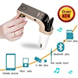 Bluetooth FM Transmitter Adapter for Car, P-JING Wireless FM Modulator Aux Car Kit Radio USB