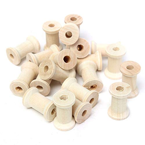 (SODIAL 20Pcs Vintage Style Wooden Bobbins Spools Reels Organizer for Sewing Ribbons Twine Wood Crafts Tools)