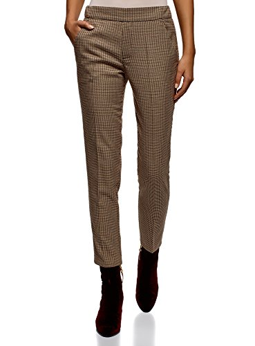 Weekend Chino Cropped Pants - oodji Ultra Women's Slim-Fit Trousers with Elastic Waistband, Beige, 10
