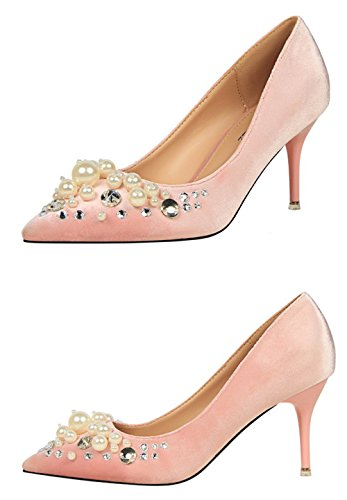 Manyis Fashion Mujer Shallow Cute Pearl Tacones Altos Lady Crytal Stiletto Point-toe Zapatos Pink