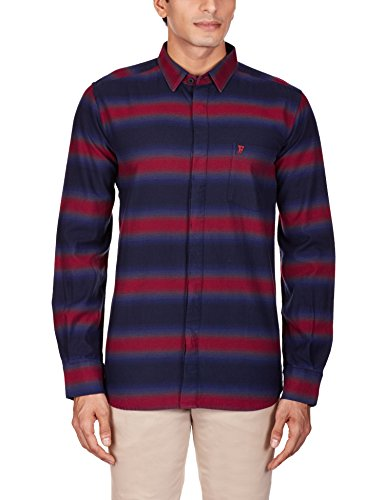 French Connection Men's Bailey Ombre Stripe Long Sleeve Button Down Shirt,  Rhododendron/Marine Blue,  X-Lar