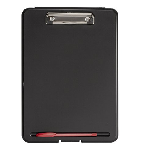 Officemate Letter Size Front Opening Clipboard Case with Low Profile Clip, Black Clipboard (83385) ()
