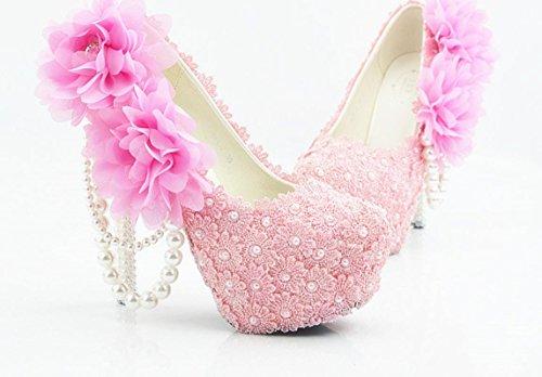 YCMDM Donne Hgh Tacchi rotondo di nozze singoli pattini pizzo rosa cipria fiori damigella d'onore Nightclub Shoes , 11 cm with high reservation , 41