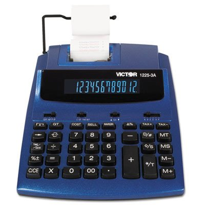 1225-3A Antimicrobial Desktop Calculator, 12-Digit Fluorescent, 2-Color Printing