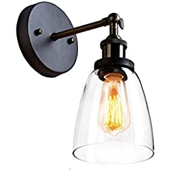 CLAXY Ecopower Industrial Edison Old Fashion Simplicity Glass Wall Sconce Metal Base Cap