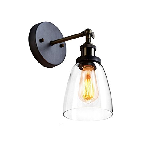 CLAXY Ecopower Industrial Edison Old Fashion Simplicity Glass Wall Sconce Metal Base Cap by CLAXY