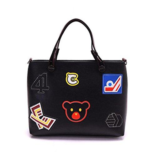 Sac Main Écoles Rétro SHOUTIBAO Shopping Mode Bag Quatre PU à black à Cuir Unique bandoulière Filles Travail Couleurs Messenger Lady Sac Tourisme aOaFPX