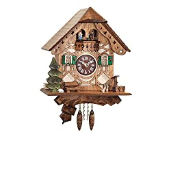 Framework Design Miniature Quartz Pendulum Cuckoo Clock with Dancing Couple, 9 Inch