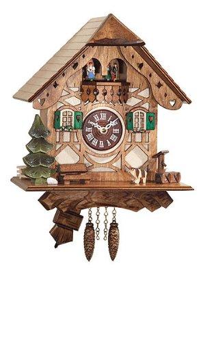 Framework Design Miniature Quartz Pendulum Cuckoo Clock with Dancing Couple, 9 Inch