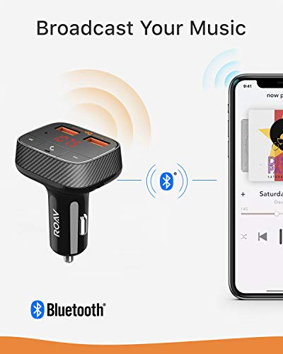 Anker Roav SmartCharge F0 Bluetooth FM Transmitter for Car, Audio Adapter and Receiver, Hands-Free Calling, MP3 Car Charger with 2 USB Ports, PowerIQ, and AUX Output (No Dedicated App)