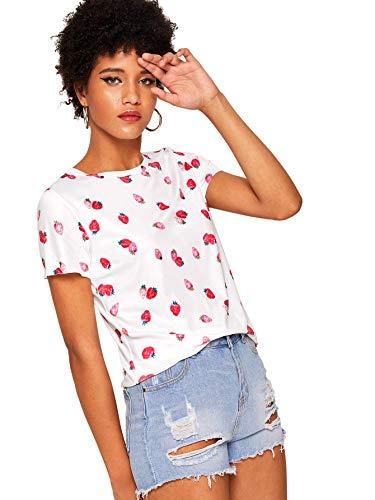 (WDIRARA Women's Summer Cute Short Sleeve Strawberry Print T-Shirt Tee Top White L)