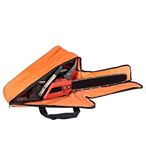 QEES 18 inch Chainsaw Chain Case, Woodworking Tools Bag, Heavy Duty Chainsaw Carrying Case, Portable Tote Bag for Lumberjack GJB47 (Orange)