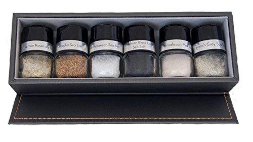 Cpise 6 bottle gourmet salt gift set with storage box, glass bottles & artisanal salts (black truffle, bolivian pink, hawaiian black lava,hawaiian red alaea, lemon rosemary salt, smoked cherrywood)