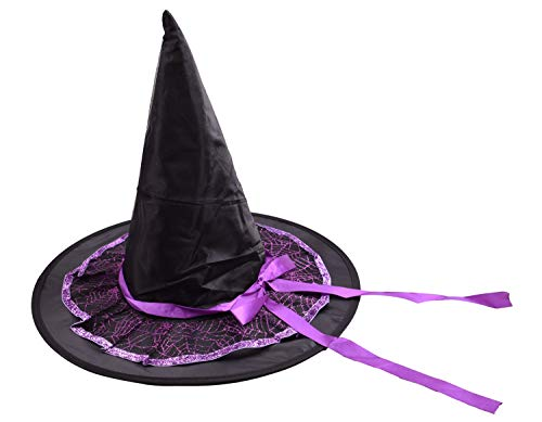 Satin Spider Witch Hat - PZLE Halloween Purple Witch Hat with Spider Web and Ribbon