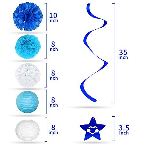 Baby Shower Decorations for Boy I BabyShower Backdrop Decor I Boy Baby Shower Decorations I Premium Party Decoration Items I Its a Boy Banner Star Swirls Foot-shaped Foil Balloon Lanterns, Cake Topper by Moment-O-Mania (Image #4)