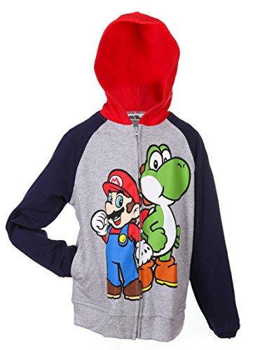 Nintendo Super Mario Boys' Sweatshirt Hoodie 1 Pack Gray/Blue - Small