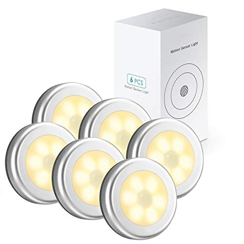 6 Packs Motion Sensor Light, Cordless Battery-Powered LED Night Lights for Hallway Bathroom Bedroom Kitchen, Closet Lights Stair Puck Lighting(Warm White)        Amazon imported products in Islamabad