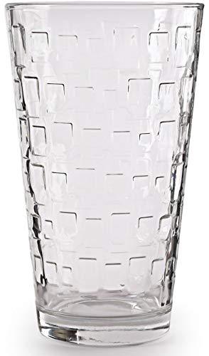 Circleware 40200 Set of 4 Tumbler Cooler Blocks Beverage Glasses Heavy Base Drinking Highball, Cups for Water, Juice, Milk, Beer, Ice Tea 15.7 oz 4pc ()