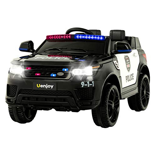 Uenjoy-12V-Kids-Police-Ride-On-Car-SUV-Battery-Operated-Electric-Cars-w-24G-Remote-Control-LED-Siren-Flashing-Light-Music-Horn-Intercom-Bumper-Guard-Openable-Doors-AUX-USB-Port-Black