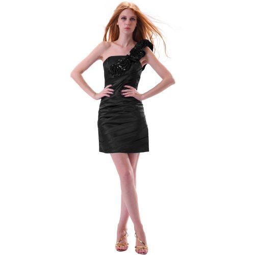 Women Black One Dress Mini Column Shoulder Sheath s Dearta Taffeta Short Cocktail pdwqfPf