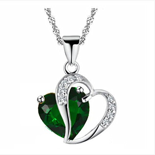 Wedding Rsvp Custom Announcements (Ddang - Women Heart Crystal Rhinestone Silver Chain Pendant Necklace Jewelry necklace Silver & Green JEW 0405)