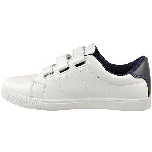 Mode Soif Femme Confortable Slip Sur Sneakers Gym Sport Chaussures Coureurs Taille Blanc Faux Cuir