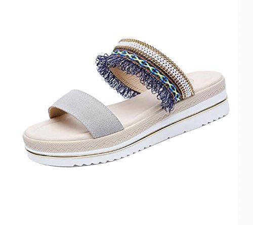 Slipper female, wedge sandals and slippers, summer fashion wear non-slip sandals and slippers beach sandals Flat Sandals,Fashion sandals (Color : B, Size : 40) B
