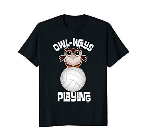 OWL-WAYS-Playing-Volleyball-Funny-Humor-Owl-T-Shirt-Tee