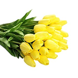 Muyee Artificial Tulips, Single Stem 12 Heads Artificial Real Touch PU Tulips Flowers Arrangement Bouquet Home Room Office Centerpiece Party Wedding Decor 2