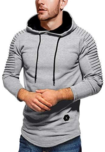 Seazoon Mens Long Sleeve Casual Plain Pullover Drawstring Hoodie Hem Curved Basic Breathable Sweatshirt