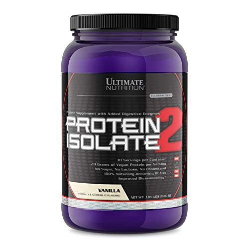 Ultimate Nutrition Vegan Plant Based Protein Isolate Powder - No Sugar and No Lactose - 20 Grams of Protein Per Serving with 100% Naturally Occurring BCAAs, Vanilla, 2 ()
