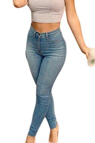 Un Solide lastique Des Pantalons Jeans Cheville Pantalons Slim Jambires blue
