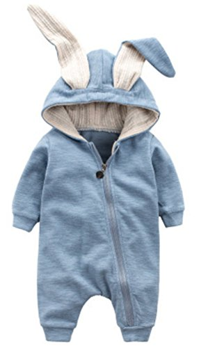 Winter Warm Baby Boys Girls Rabbit 3D Ear Zipper Hooded Romper Jumpsuit Outfits Size 6-12Months/73 (Blue) -