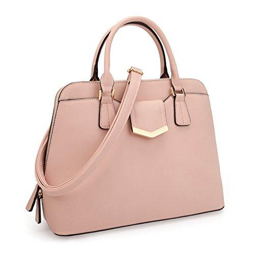 dasein-womens-fashion-designer-zip-around-top-handle-dome-satchel-handbag-purse-medium-pink